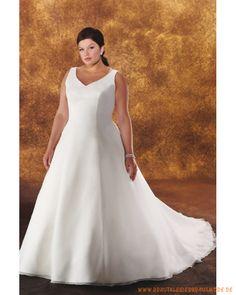 Große Brautmode aus Chiffon verzierter V-Ausschnitt mit A-Linie Rock                                                                                                                                                                                 Mehr