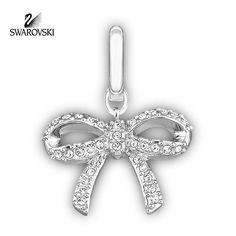Swarovski Clear Crystal Jewelry BOW Charm Rhodium Plated #1047486
