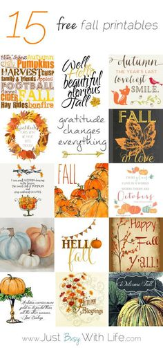 15 Free Fall Printables / Just Busy With Life Autumn Crafts, Thanksgiving Crafts, Holiday Crafts, Holiday Fun, Festive, Autumn Decorating, Decorating Pumpkins, Fall Projects, Fall Harvest