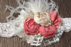 Rosettes, Lace, Feathers and Pearls Headband, Vintage Inspired Headband, Kids Hair Accessory, Baby Girl Photo Prop, Shabby Chic Headband, by AldonasBoutique on Etsy https://www.etsy.com/listing/172166207/rosettes-lace-feathers-and-pearls