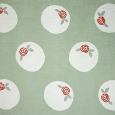 Sugar Plum Linen Fabric Light Grey natural linen fabric with repeated single Rose design within a white circle.