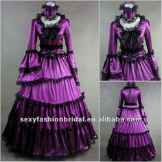 Purple Dresses | ... style long sleeve bell sleeves purple and black Gothic wedding dress