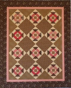 Dash of Summer pink and brown quilt, pattern in June 2008 American Patchwork and Quilting magazine