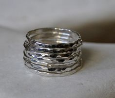 Set of 7 sterling silver stackable rings hammered by byDeniss, $42.99