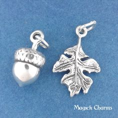 ★ Item #sc554a ★ .925 Solid Sterling Silver ★ Acorn Measures Approx: 3/8 x 5/8 (10mm x 16mm) ★ Oak Leaf Measures Approx: 3/4 x 1/2 (19mm X 13mm) ★ 3D Charms ★ Includes Free Open Jump Rings ★ Made in the USA ★ Photo Enlarged To Show Detail { KEEP SHOPPING } More Fall/ Autumn Charms: