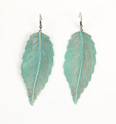 turquise metal feather earings! $8.50
