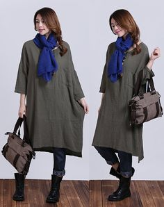 Army green cotton sleeve dress / casual loose round neck shoulder tread Dress