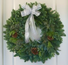 """This is one of our 32"""" mixed wreaths.  The traditional wreath on the front door - can't go wrong with that."""