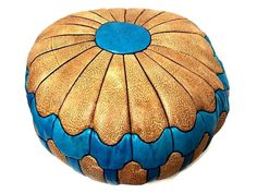 Moroccan Leather Hassack Round Ottoman Pouf Seat in Turquoise  Large Poof Seat #Handmade #Moroccan