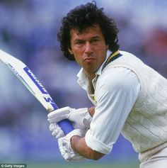 Pakistani cricketer and politician Imran Khan at the crease during a One Day International against England in 1985