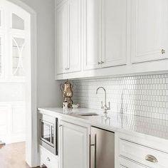 White Butler Pantry with Ann Sacks HIve Tiles