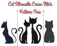 Looking for your next project? You're going to love Cat Silhouette Cross Stitch Pattern Trio by designer Loretta Oliver.