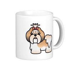 Black Gold And White Cartoon Shih Tzu Mug #shihtzu #dogs