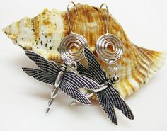 Large Silver Dragonfly Earrings  Statement by AVeryCoolEarringShop