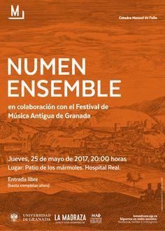"""Hoy,a las 20h,en el #HospitalReal (Patio de los Mármoles),""""NUMEN Ensemble"""",en colaboración con el """"Festival de Música Antigua de Granada"""". E.Libre. Organiza: #CMDeFallaUGR https://lamadraza.ugr.es/evento/numen-festival-mag/"""