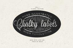 Hand illustrated chalk labels by Irtsya on @creativemarket