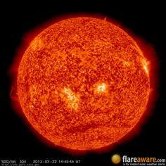 The hourly sun (at 02:45 pm  UTC on 22 February 2013)
