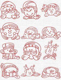 Christmas characters, elves snowman, reindeer, santa