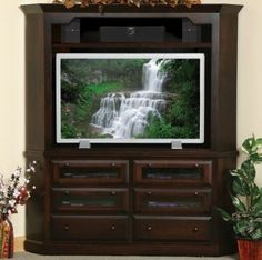 Solid Wood Amish Made Entertainment Center Lansdowne 45