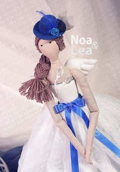 Frances - Tilda inspired Doll, Elegant Little Lady Doll, tulle skirt, hat, Shabby Chic, Tall Doll, white & blue, brown hair