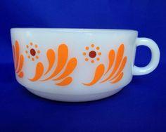 VTG Glasbake Soup Mug Orange Swirls Red Dot White Milk Glass Handled Cereal Bowl #Glasbake #MCM
