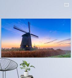 Kleurrijke zonsopkomst bij de Schermer molens Wind Turbine, Canvas, Tela, Canvases