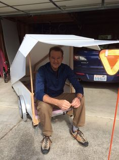 Lightweight And Collapsible Camper Pulled With Reclining Bicycle