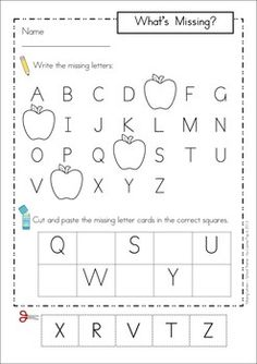 Missing Alphabet Letters Cut and Paste - SCHOOL Theme. Includes uppercase and lowercase letters.