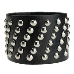 Punk Style Leather Black Bracelet
