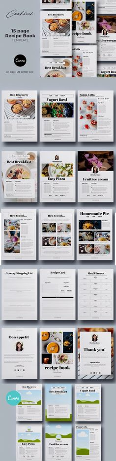 Canva Recipe Book / Cookbook / Cards - Templates. Compatible with: Other. File Type: PDF. File Size: 2.82 MB. Cookbook Template, Page Template, Templates, Photo Link, File Size, Planner Pages, Cover Pages, Recipe Cards, Meal Planning