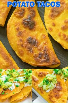 These delicious and crispy Potato Tacos are crunchy on the outside and soft on the inside. They are vegetarian and easy to make at home. Gourmet Recipes, Mexican Food Recipes, Cooking Recipes, Dinner Recipes, Vegetarian Lunch, Vegetarian Recipes, Healthy Recipes, Vegetarian Mexican Appetizers, Potato Tacos