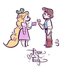 Rapunzel and Flynn Disney Kunst, Arte Disney, Disney Fan Art, Disney Magic, Disney Rapunzel, Rapunzel Story, Cute Disney Drawings, Cute Drawings, Disney And Dreamworks