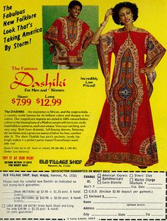 1977 Fashion Ad, African Dashiki Fashions