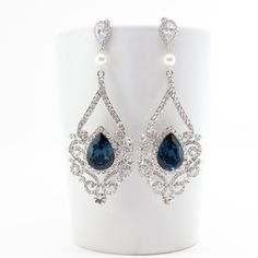 Victorian Style Bridal Swarovski Wedding Earrings By Estylo Jewelry