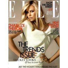ELLE UK Cover August 2008 - MyFDB ❤ liked on Polyvore featuring covers and charlize theron