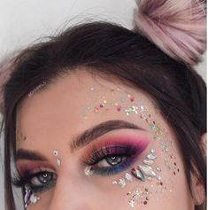 Unicorn Vibes - Iridescent face glitter with a simple brown eyeshadow and winged eyeliner. You can achieve the ultimate festival look with simple glamor and glitter!Biodegradable Chunky Mixed Festival Glitter - Summer of Eye Makeup Art, Makeup Inspo, Makeup Inspiration, Beauty Makeup, Fairy Makeup, Makeup Ideas, Exotic Makeup, Eyebrow Makeup, Eyeshadow Makeup