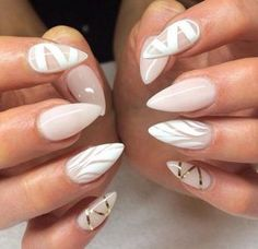 Gold nail art, white & beige sharp nails