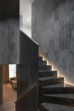 Admirable Dark Grey Home Decor With Warm LED Lighting Design Ideas - Page 3 of 3 Stairway Lighting, House Lighting, Interior Design Career, Led Light Design, Lighting Design, Gallery Lighting, Lighting Ideas, Home Stairs Design, Loft Design