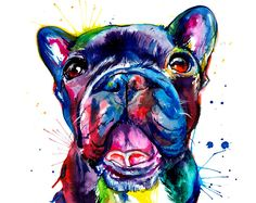 Black French Bulldog (Frenchie) Art Print - Print of Original Watercolor Painting