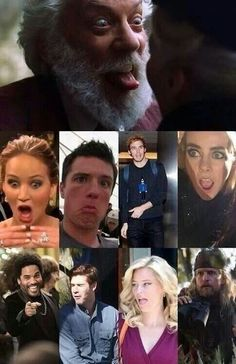The Hunger Games cast making funny faces-- oh my gosh the guy that plays snow...