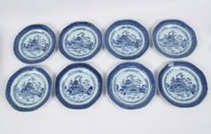 GROUP OF 8 BLUE AND WHITE CANTONESE PLATES