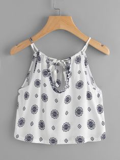 Printed Random Self Tie Keyhole Back Cami Top