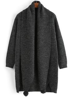Shawl Collar Dip Hem Split Sweater Dress With Scarf