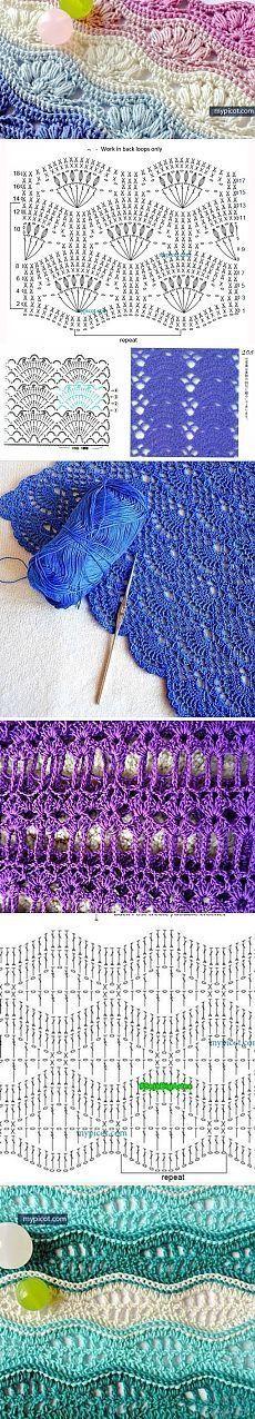Crochet Shawl Pattern Free Triangles Charts Yarns Ideas Again, we can eas… Crochet Motifs, Crochet Stitches Patterns, Crochet Diagram, Crochet Chart, Love Crochet, Diy Crochet, Crochet Designs, Knitting Patterns, Scarf Patterns