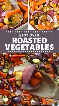 These delicious easy oven roasted vegetables are great side dishes for lunches! Made with onions sweet potatoes zucchini and carrots it's drizzled with balsamic seasoned and roasted in the oven for perfection! Save this pin for later! Roasted Veggies In Oven, Roasted Potatoes And Carrots, Roasted Vegetable Recipes, Carrots Oven, Roast Zucchini In Oven, Roasted Balsamic Vegetables, Veggie Medley Recipes, Roast Vegetable Salad, Recipes
