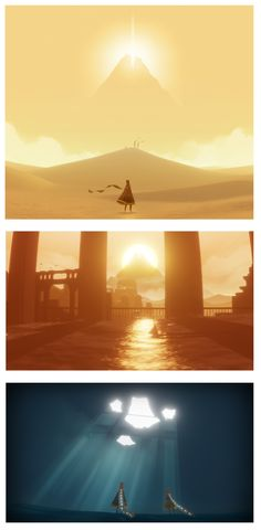 A series of screen captures from a 2012 game named 'Journey' developed by 'Thatgamecompany'. Journey is a breathtaking game that presents the quintessential call to adventure. It does this using no written text or spoken word (with the exception of the games title and credits). It does this though various means but, in particular, the use of colour is one of great subtlety, as the games scenery is constantly moving from warm and optimistic reds and yellows to cold and uninviting shades of…