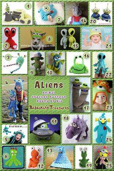 Aliens - Animal Crochet Pattern Round Up via @beckastreasures