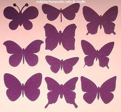 Todos estes modelos de borboletas podem ser feitos em diversos tamanhos, de poucos centímetros até o tamanho de uma folha de sulfite. Podem ser feitas em papéis lisos ou estampados. Em tamanhos grandes ficam lindas para decoração de festas e vitrines.