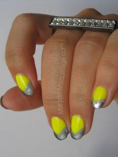 Neon Yellow with gray and silver #Nails