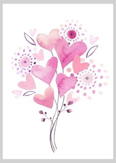 Hearts Balloons Valentine Copy - By: Victoria Nelson Watercolor Heart, Easy Watercolor, Watercolor Cards, Watercolor Flowers, Watercolor Paintings, Valentines Watercolor, Valentines Art, Kaktus Illustration, Watercolor Illustration